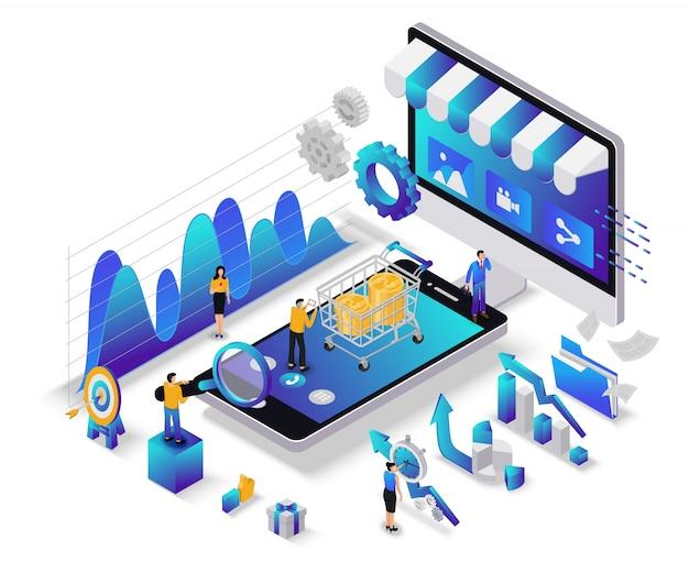 Concepto de marketing digital plano isométrico con carácter.