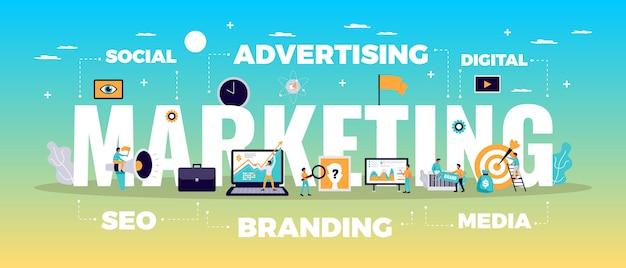 Concepto de marketing digital con publicidad en línea y símbolos de medios planos