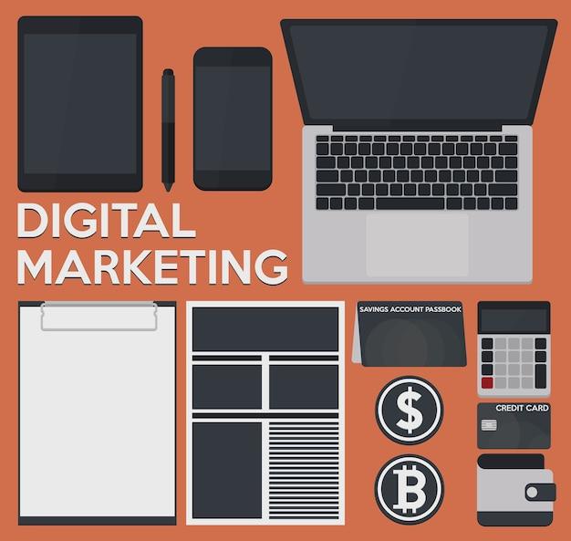 Concepto de marketing digital, simulacro de activo de plantilla