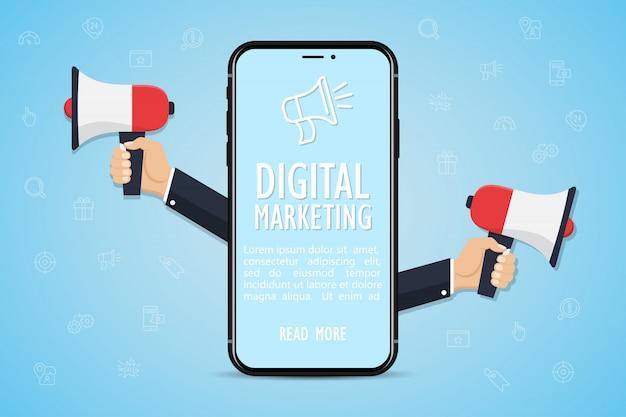 Concepto de marketing digital. smartphone con manos sosteniendo un megáfono