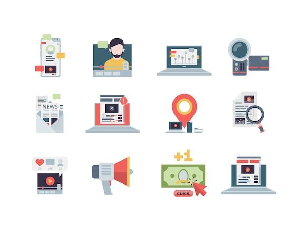 Concepto de marketing. gestión de contenido, correo electrónico, negocios digitales, estrategia de blogs, rendimiento, escritura plana. gestión de marketing social, blog de contenido e ilustración de vlog