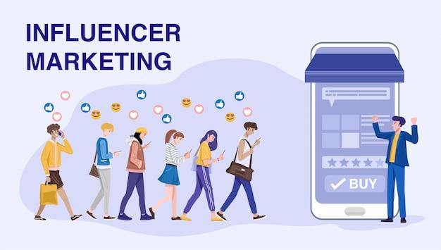 Concepto de marketing de influencer, influencer promueve productos para sus seguidores en línea.