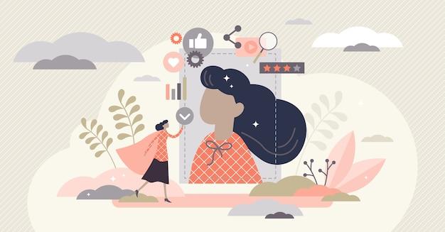Concepto de marketing de influencers de marca personal, ilustración de persona pequeña.
