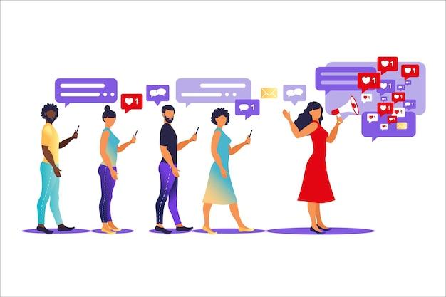 Concepto de marketing de influencers: servicios y productos de promoción de blogger para sus seguidores en línea