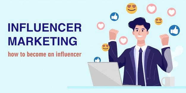 Concepto de marketing de influencia, un joven empresario viendo una transmisión en vivo. vector