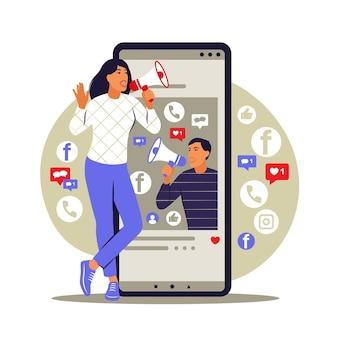 Concepto de marketing móvil. comercio electrónico, publicidad en internet, promoción. ilustración vectorial. plano.