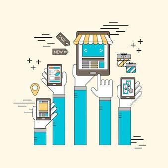 Concepto de marketing móvil: manos sosteniendo teléfonos inteligentes en estilo de línea