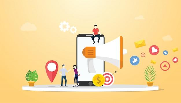 Concepto de marketing móvil con smartphone y redes sociales.