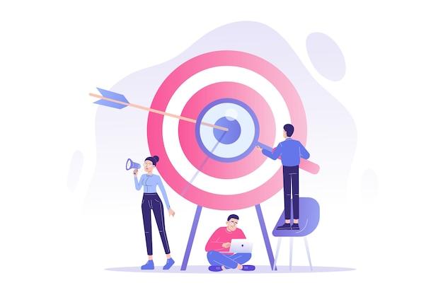 Concepto de marketing objetivo con equipo de relaciones públicas atrayendo clientes con megáfono