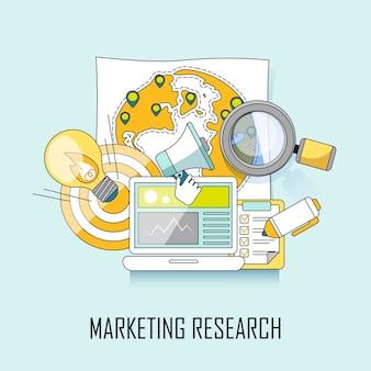Concepto de marketing: promoción empresarial en estilo de línea