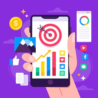 Concepto de marketing en redes sociales en dispositivos móviles