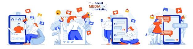 Concepto de marketing en redes sociales establece contenido publicitario de estrategia de promoción