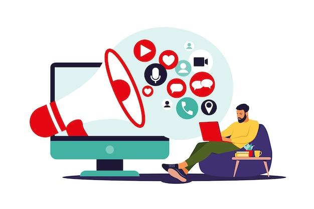 Concepto de marketing en redes sociales. hombre que usa las redes sociales. gestión de smm. publicidad online. ilustración de vector. departamento
