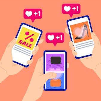 Concepto de marketing en redes sociales ilustrado
