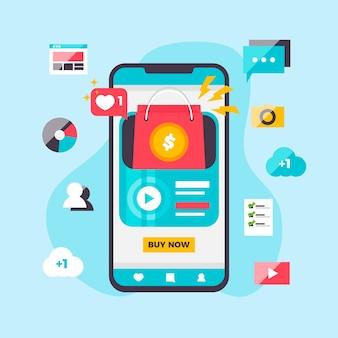 Concepto de marketing en redes sociales con pantalla de aplicación