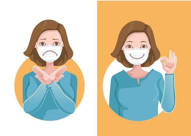 Concepto de máscara. las mujeres usan máscaras médicas para protegerse contra virus, gestos y diferentes signos. frente a sentimientos positivos y sentimientos negativos. coronavirus relacionado