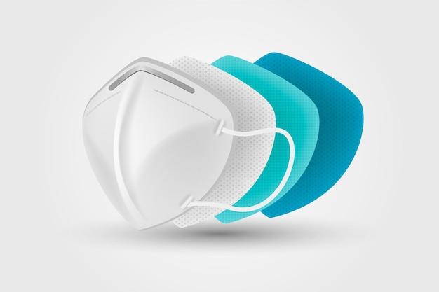 Concepto de máscara quirúrgica n95 en capas