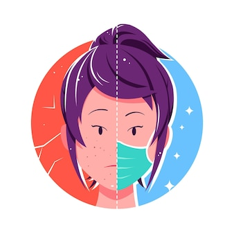 Concepto de maskne (mascarilla y acné)