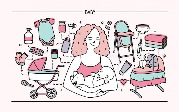 Concepto de maternidad. banner horizontal con madre y bebé, accesorios para niños diferentes. línea arte colorido ilustración.