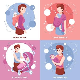 Concepto de maternidad bebés durmiendo