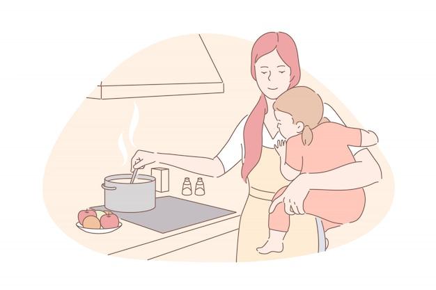 Concepto de maternidad feliz, cuidado de niños, tareas domésticas