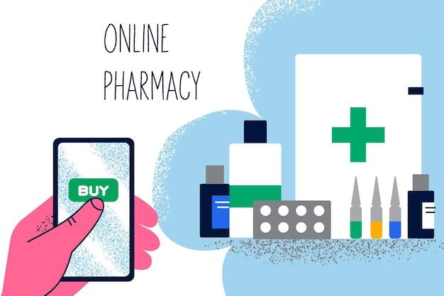 Concepto de medicamentos de compra de farmacia en línea