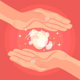 Concepto de medicina alternativa de manos curativas de energía