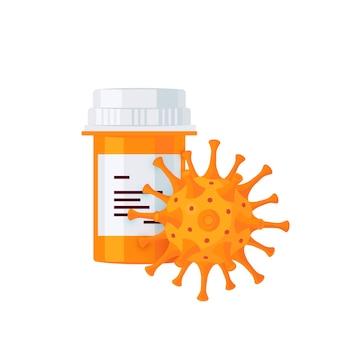 Concepto de medicina. frasco de pastillas y microbio. para infografías médicas, banners web, carteles, publicaciones en redes sociales.