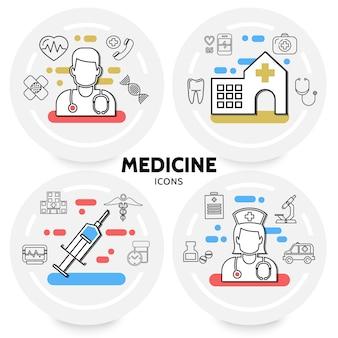 Concepto de medicina y salud con microscopio de estetoscopio de adn de jeringa de hospital médico enfermera