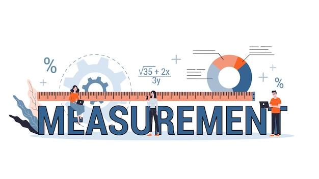 Concepto de medición. idea de equipo para medir. área de ingeniería. ilustración con estilo