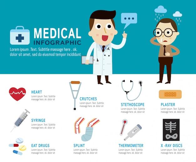Concepto médico infografía elementos