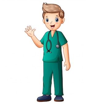Concepto médico con un joven cirujano.