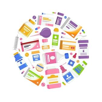 Concepto médico con medicina píldoras cápsulas botellas vitaminas tabletas antibiótico de drogas cuidado de la salud