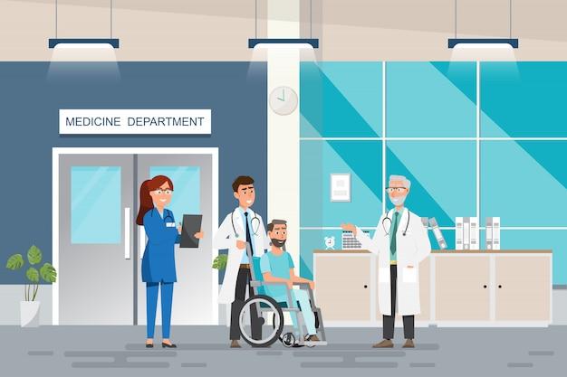 Concepto médico con médico y pacientes en caricatura plana en el hall del hospital