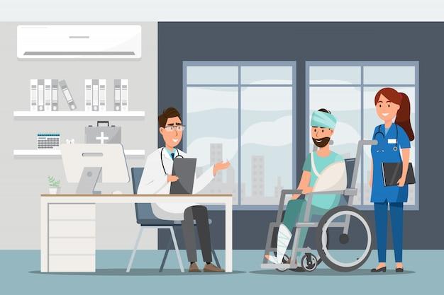 Concepto médico con el médico y los pacientes en dibujos animados plana en el pasillo del hospital