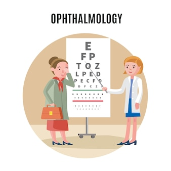 Concepto médico de oftalmología plana