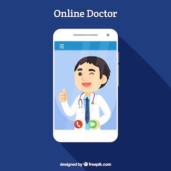 Concepto de médico online con smartphone