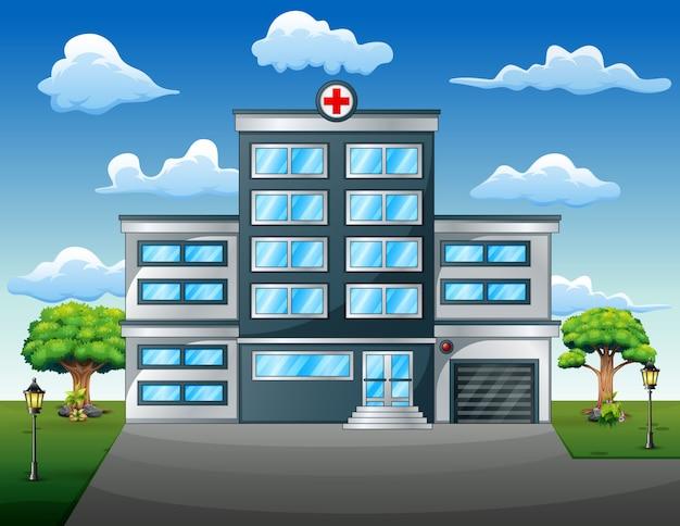 Concepto médico del paisaje con vista frontal del edificio del hospital