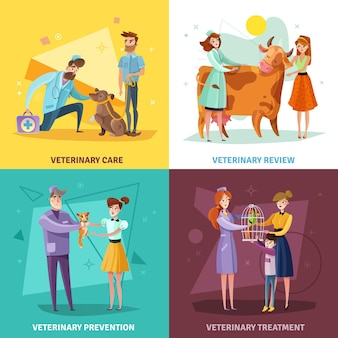 Concepto de médicos veterinarios con mascotas y animales de granja tratamiento veterinario y prevención aislado