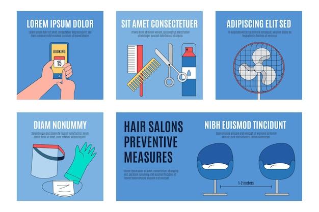 Concepto de medidas preventivas de salones de belleza