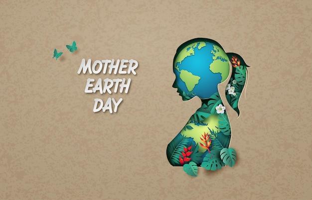 Concepto de medio ambiente mundial y día de la madre tierra, corte de papel, estilo collage de papel con artesanía digital.