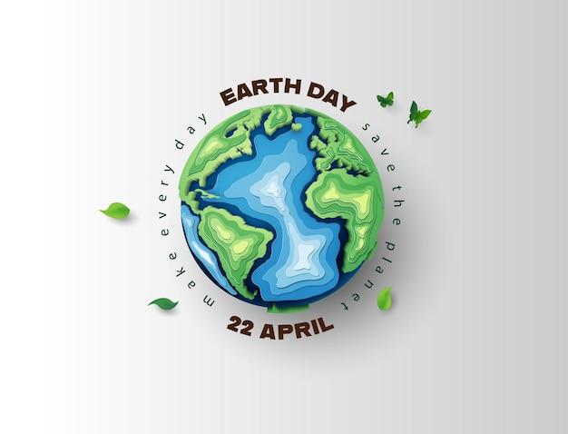 Concepto de medio ambiente mundial y día de la tierra, corte de papel, estilo de collage de papel con artesanía digital.