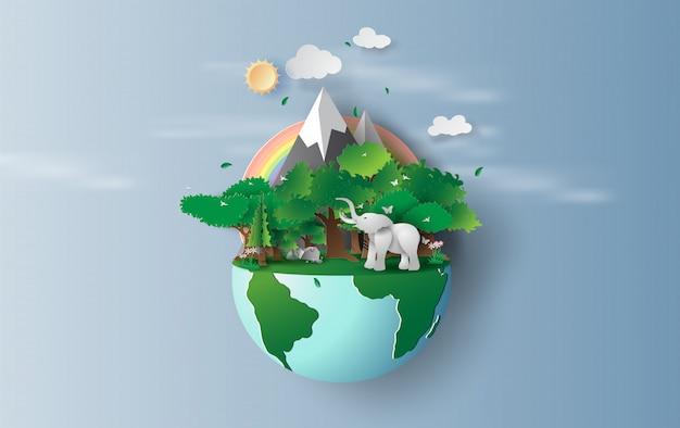 Concepto de medio ambiente mundial y día de la tierra
