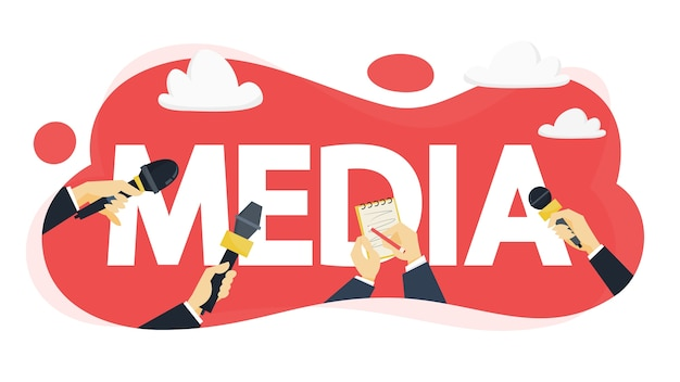Concepto de medios. presione con micrófono tome entrevista