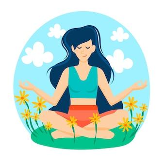Concepto de meditación en un campo de flores.