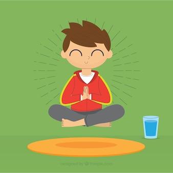 Concepto de meditación con diseño plano