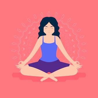 Concepto de meditación en diseño plano