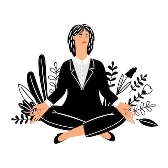 Concepto de meditación con empresaria sobre fondo blanco.