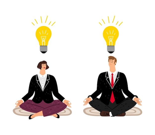 Concepto de meditación. la gente de negocios encuentra el equilibrio. pensamiento creativo en la ilustración de vector de mente tranquila. personajes de negocios planos