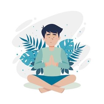 Concepto de meditación con hombre y hojas